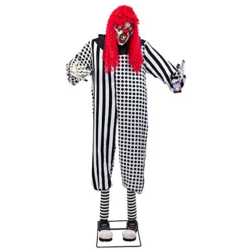 Us-armee Basis (Halloween Haunters Giant 7Fuß Animierter Stehend Scary Zirkus Clown Prop Dekoration-Gummi Latex Evil Face, Rot Light up Augen-Animatronic Head & Arm Motion-batteriebetrieben)
