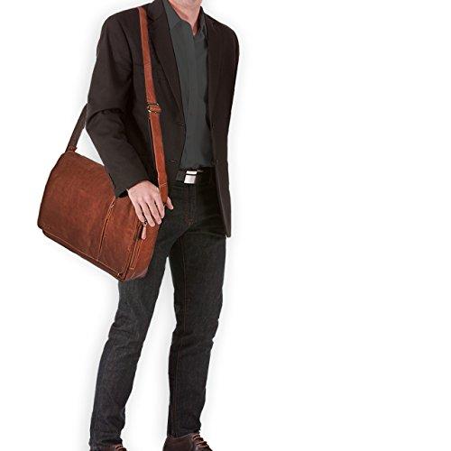 STILORD Elias Borsa a tracolla in pelle Messenger in cuoio vintage Borsa da studente per università Cartella ufficio lavoro per PC 15,6 , Colore:marrone scuro - pallido cognac-marrone