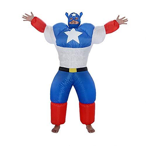 Sunny Erwachsene aufblasbare Halloween-Kostüm Captain America Cosplay Kostüm, lustige Neuheit Cosplay für Halloween und Party-Spiele, Bar - Geist Captain America Kostüm