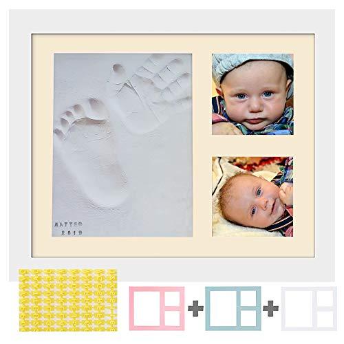 Piti cot cornice impronte neonato-kit lettere numeri e 4 cornici colorate-calco mani e piedi del bimbo in argilla-idee regalo battesimo bimba nascita bambino-portafoto baby da tavolo e da parete