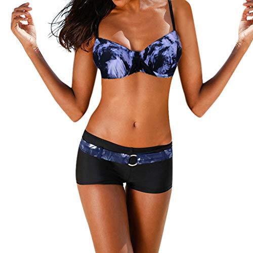 DOLDOA Bikini Damen Set,Sommer Sexy Tie Dyeing Bademode Beachwear Siamese Badeanzug Bikini Set Schwarz, Rot, Blau S,M,L,XL,XXL,XXXL