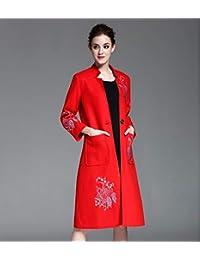 Liuxc cappotto Cappotto di Lana Invernale Primavera Cappotto Giacca a Vento  Ricamo Misto Cappotto Lungo Cappotto b2bb2af114f