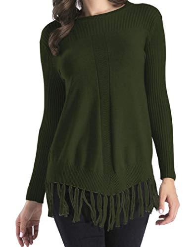CuteRose Women Boyfriend Long Sleeve Blouse Tassel Crew-Neck Knitwear Green S (Green Pullover Crewneck Wool)