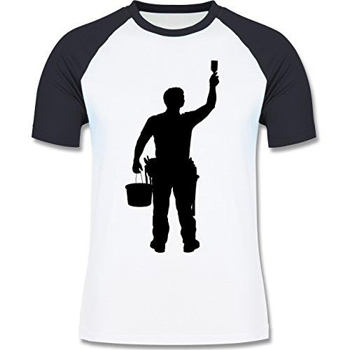 Handwerk - Maler - Herren Baseball Shirt Weiß/Navy Blau