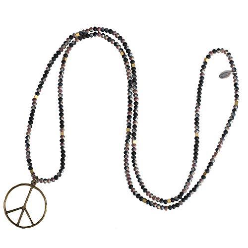 KELITCH Lange Halsketten für Frauen Männer Handgemachte Glas Kristall Perle Kette Liberalen Friedenszeichen Anhänger Halskette (Bunte T)