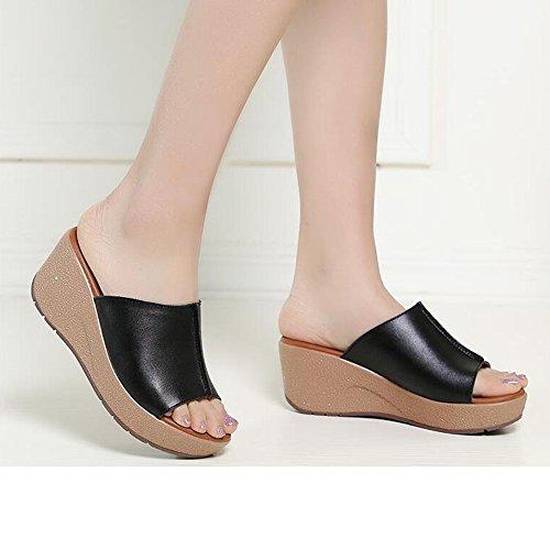 Estate Sandali 6.8 centimetri Adattano i pattini pistoni di estate all'aperto estivi donna pistoni inferiori spessi (nero / bianco) Colore / formato facoltativo Nero