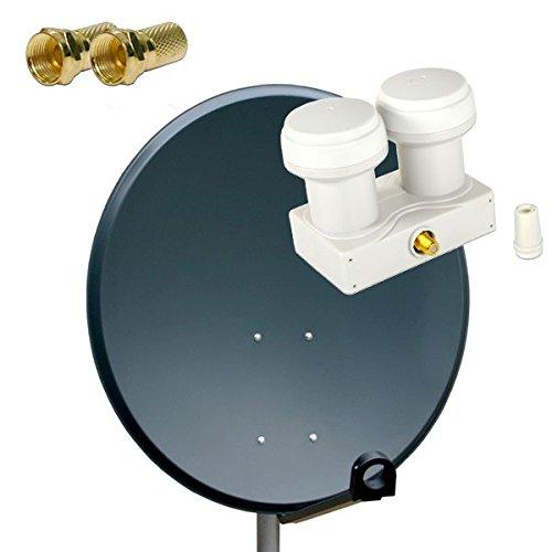 Antenne PremiumX SAT Schüssel Spiegel 80 cm, PXS80 Anthrazit Stahl Digitale Sat Anlage FullHD HDTV + PremiumX PXMB-6SW LNB Single Monoblock 0,1 dB + 2x F-Stecker 7mm Vergoldet Gratis dazu !!!