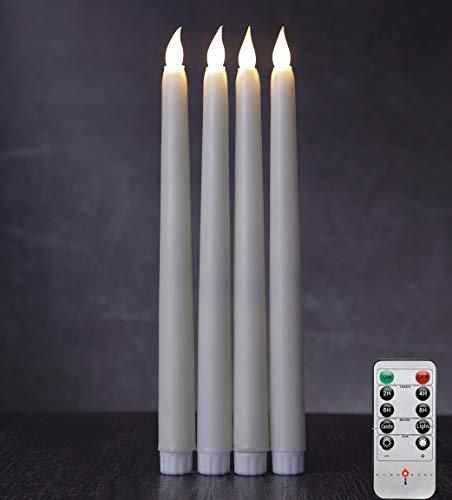 11'' Echtwachs Batteriebetriebene flammenlose Flackernde LED Taper Kerzen mit Fernbedienung & Timer, Elfenbein Stabkerze, 4er-Set