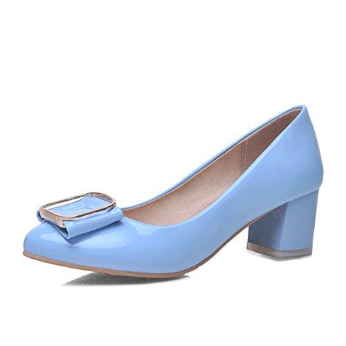 Chunky talons avec l'estuaire peu profond dans les chaussures de printemps/low chaussures bow en cuir verni/Chaussure douce a talons hauts C