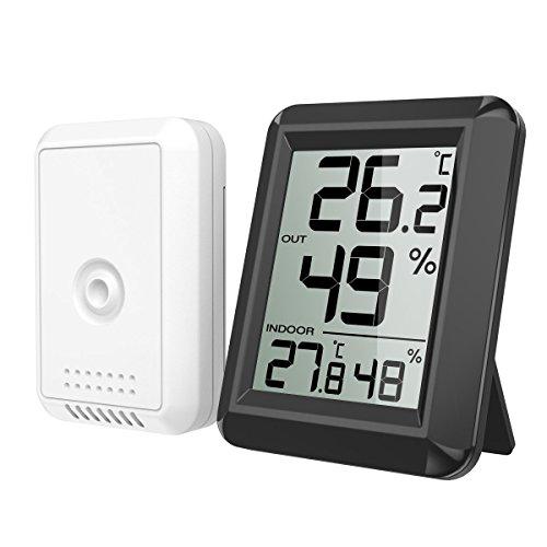 ORIA Thermometer Hygrometer, Innen Außen Thermometer Digital Temperatur und Luftfeuchtigkeit Monitor, Thermo Hygrometer mit Außensensor, Großem LCD Display, ℃/℉ Schalter, Ideal für Schlafzimmer, Büro,etc - Schwarz (Innen-luftfeuchtigkeit)