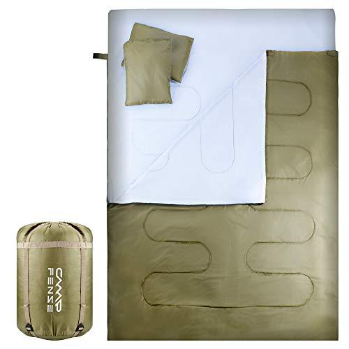 CampFENSE Doppelschlafsack mit Zwei Kissen, Tragbare 2 Personen rechteckige Schlafsäcke für Kinder Jugend Erwachsene Männer Frauen passt Outdoor Wandern Camping Reisen (Olivgrün-Doppelschlafsack)