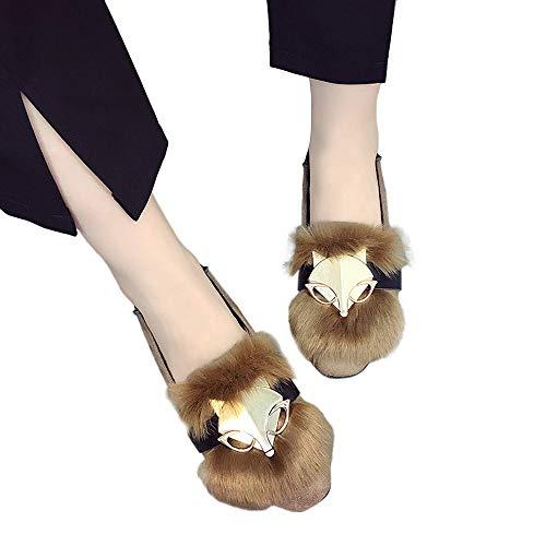 Hffan Damen Modisch Plüsch Flache Schuhe Metallstück Metall Fuchs Dekoration Ballett Platz Zehenkappe Stiefeletten Damenschuhe Schuhe für Frauen(Khaki,36)