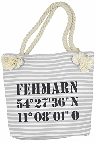 Sonia Originelli XS Shopper Fehmarn Shopper Tasche Koordinaten Farbe Rosa-Marine Grau-Schwarz