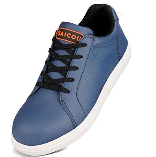 Männer Leder Stahlkappe Arbeit leicht Sicherheit Schuhe Größe 36 bis 4 , Blue , EU36 -