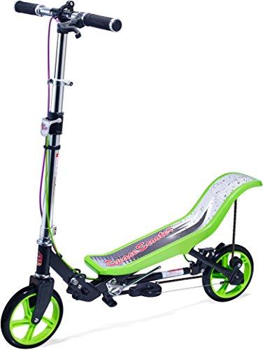 Space Scooter Premium - Klappbarer Tretroller für Kinder und Erwachsene, schwarz-grün