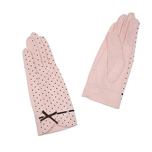 kenmont été Femmes Pois soleil UV protection extérieur 100% coton gants de conduite Rose