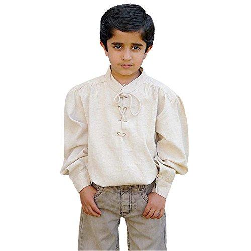 Renaissance Kostüm Jungen - Elbenwald Mittelalter Hemd für Kinder Natur Baumwolle Knecht Ritter Gewand Junge - 12/14 Jahre