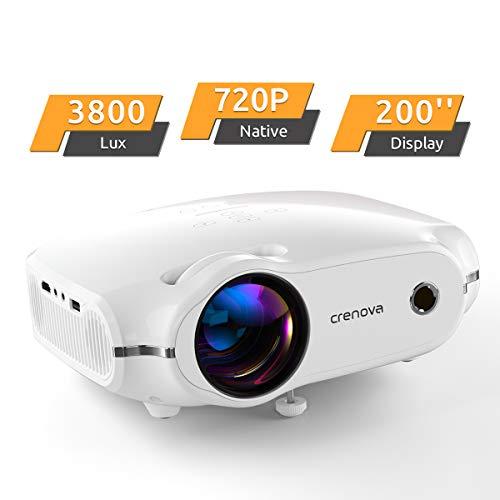 """Beamer, portabler CrenovaMini Projektor unterstützt1080P, HD Beamer mit 200"""" Bildgröße und 3800 LumenfürPC/MAC/DVD/TV/Xbox/Filme/Spiele/Smartphone mitkostenlosem HDMI-Kabel,weiß."""
