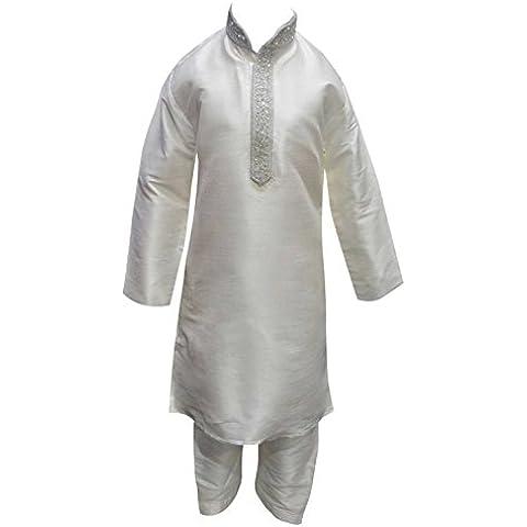 Boys bianco argento seta grezza Indian Bollywood Sherwani bambini Kurta salwar kameez 848