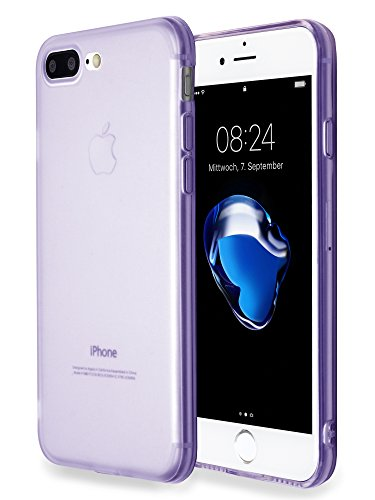 MyGadget Silikon Hülle TPU Case für Apple iPhone 7+ / 8 Plus - Schutzhülle mit Staubschutz Dünn & Flexibel - Soft Back Cover Handyhülle in Matt Lila
