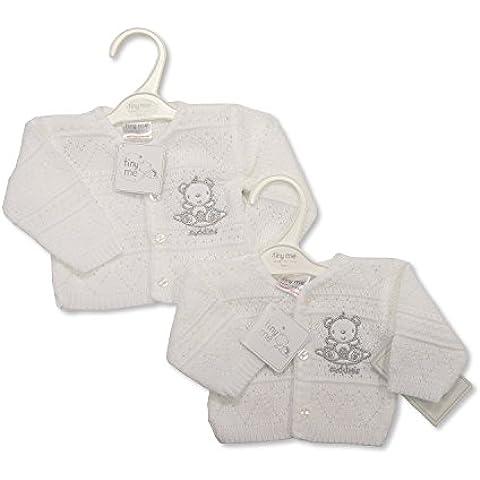 Prematuro Bebé de punto Cardigan blanco 5/8libras (2,3–3,6kg)