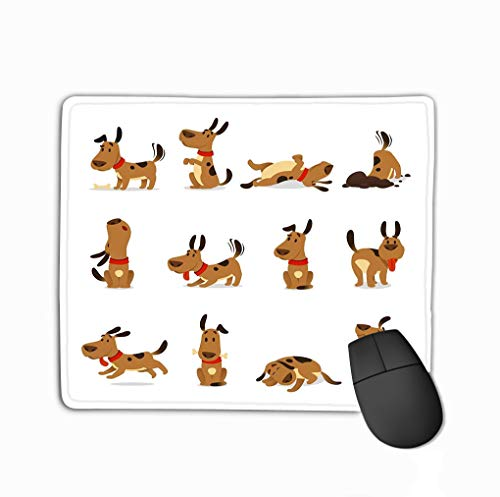 Mouse pad cartoon dog set dogs tricks icons action training digging dirt eating pet food jumping wiggle sleeping running barking brown steelseries keyboard -