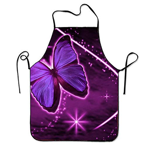 LarissaHi Schmetterling Mit Sternen Küchenschürzen Für Frauen Und Männer Verstellbarer Umhängeband Restaurant Home Chef Schürze Zum Kochen BBQ Grill
