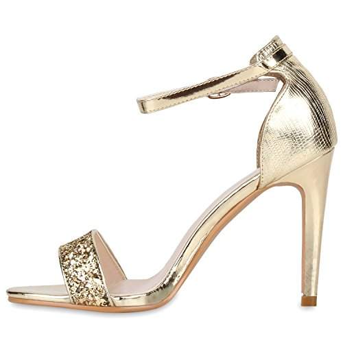Damen Sandaletten Strass High Heels Party Schuhe Metallic Glitze Brautschuhe Abschlussball Hochzeit Gold