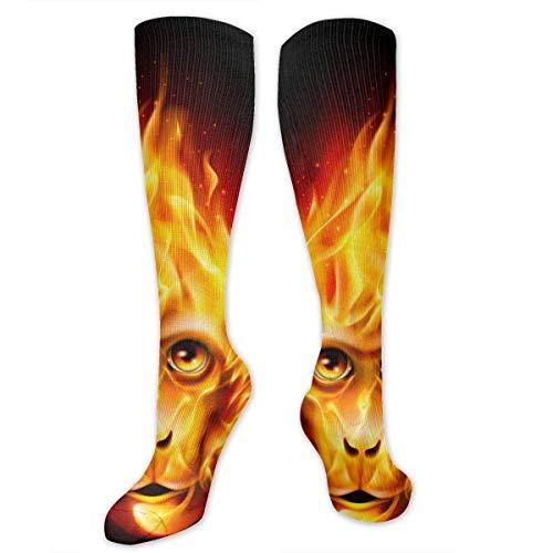 Eybfrre Compression Socks Red Head Fire Monkey Knee High Socks Sports Athletic Socks Soccer Team Tube Stockings Long Socks Funny Personalized Gift Socks for Men Women