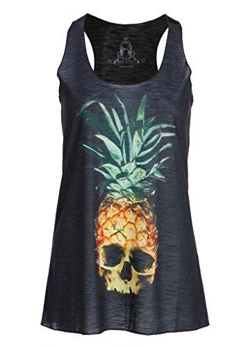Schwarzes Ananas Totenkopf Skull Damen T-Shirt Top mit Racerback – Gr. M