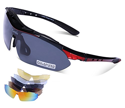 c3300b79456d7 Carfia Gafas de Sol Deportivas para Hombre y Mujer Gafas de Sol Polarizadas  Protección UV400 con 5 Lentes Cambiable