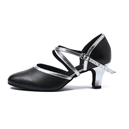 Minitoo Damen Turnier Tanzschuhe mit überkreuzten Riemen Leder Lateinamerikanischer Tanz Salsa Black-6cm Heel