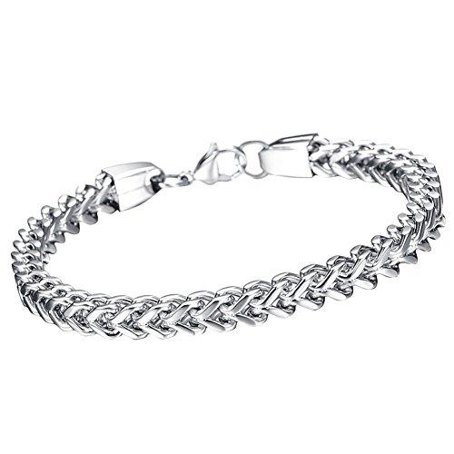 Oidea bracciale braccialetto per uomo braccialetto catena in acciaio inox argento