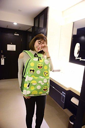 Descontar Mejor Minetom Espressione Facciale Emoji Tela Borsa A Zainetto Donna Spalla Zaini Femminili Scuola Superiore Zainetti Bag Ragazze Zaino Verde Eastbay En Venta 3XYdEUWy
