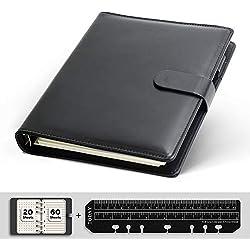 KKDragon Cahiers Notebook A5, 6 Trous en Cuir PU Noir, 80 Feuilles/160 Pages (20 Feuilles/40 Papier Pointillé, 60 Feuilles/120 Papier Ligne Horizontale)