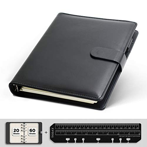 KKDragon Notizbuch A5, 6 Löcher Ringbuch aus PU Leder, Schwarz, 80 Blatt/160 Seiten(20 Blätter Gepunktetes Papier + 60 Blätter Horizontale Linie Papier)