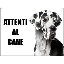 ALANO attenti al cane mod 2 ARLECCHINO TARGA cartello IN METALLO (20X30)