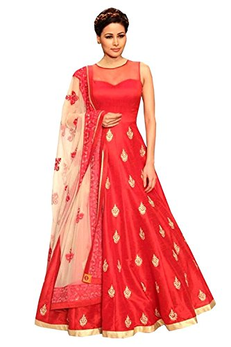 Ocean Dream Women\'s Banglory Silk Party Wear Anarkali Dress (Free_size_Red_Color_RPR001)