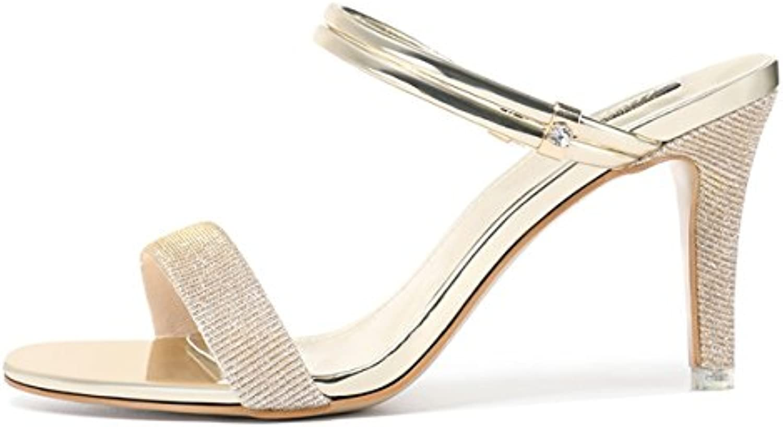 GTVERNH Mujer Zapatos/Sandalias Tacones de 8 Cm De Tacon Alto Fino Verano Zapatos Tacones Dedos De Los Pies Zapatillas.Treinta...