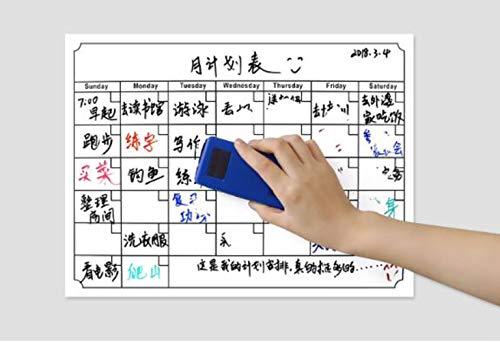 Magnetische Trocken Monatsplaner Abwischbar, Kühlschrank-Kalender Organizer Whiteboard Familienplaner Magnettafel Ideal für Monatsplanungen Nützlicher Memo oder wöchentliche Einkaufsliste (Blue)