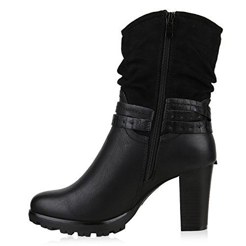Gefütterte Damen Cowboy Boots Profil Sohle Stiefeletten Western Schwarz