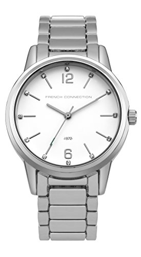 French Connection PU SFC112E - Reloj de cuarzo para mujeres con esfera blanca y correa negra de acero inoxidable