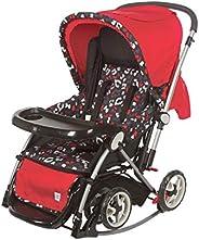 Mee Mee Premium Baby Pram with Rocker Function, Rotating Wheels & Adjustable Seat (Red G