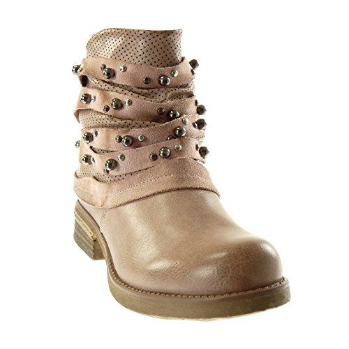 Angkorly Chaussures Mode Bottines Biker Chaussures Cavalier Femme Clouté Perforé Lignes Bloc Talon 3 Cm Rose