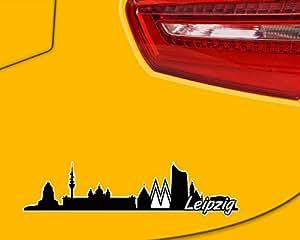 Leipzig Skyline Aufkleber Sticker Autoaufkleber City Gedruckt in 4 Größen (15x3,8cm schwarz)
