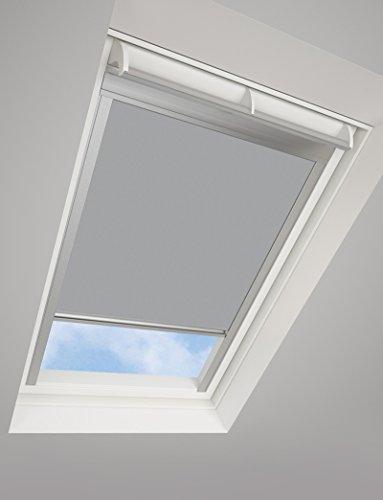 DARKONA ® Dachfensterrollo für VELUX-Dachfenster - Verdunkelungsrollo - Zahlreiche Farben / Zahlreiche Größen (PK10, Grau) - Silberner Aluminiumrahmen (Warehouse-dachfenster)
