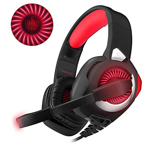 PHOINKAS H-9 RED,Gaming Headset für PS4 PC Xbox One Nintendo Switch Mac,LED Light Gaming Kopfhörer mit Mikrofon, rot