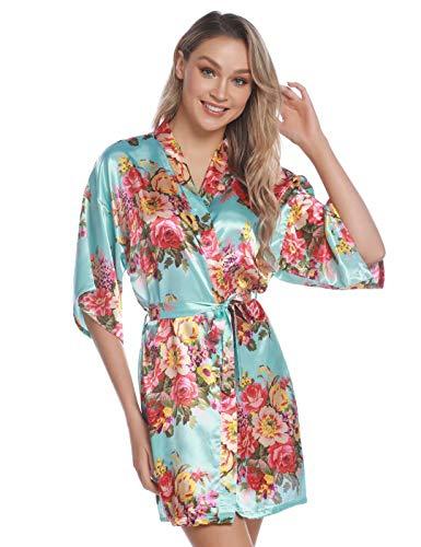 Aiboria Damen Morgenmantel Bademantel Satin Blume V Ausschnitt Kurz Kimono Nachtwäsche Robe Mit Gürtel Brautjungfer Brautdusche für Party -