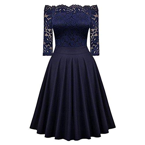iBaste Épaule Robe Vintage Robes de Soirée Cocktail Swing Mi-manche Épissure de Dentelle Creuse Femme bleu marin