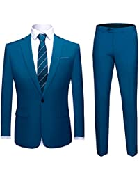 Costume Homme Confortable Formel d affaire de Couleur uni Un Bouton à la  Mode Slim 14c7bf173c7